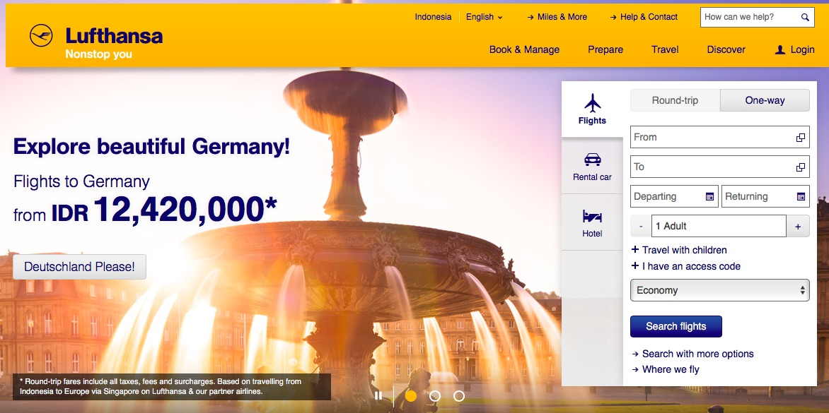 Lufthansa Booking Website