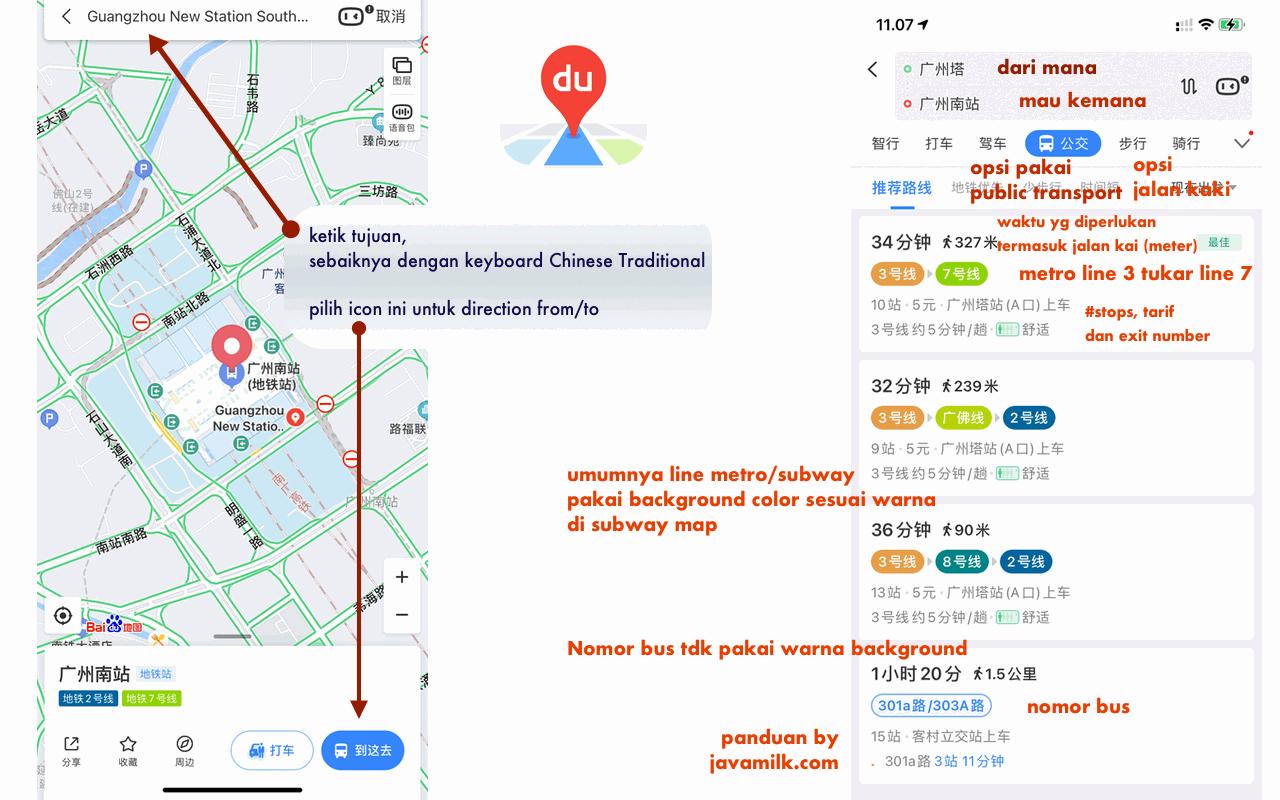 Panduan pakai aplikasi Baidu Map