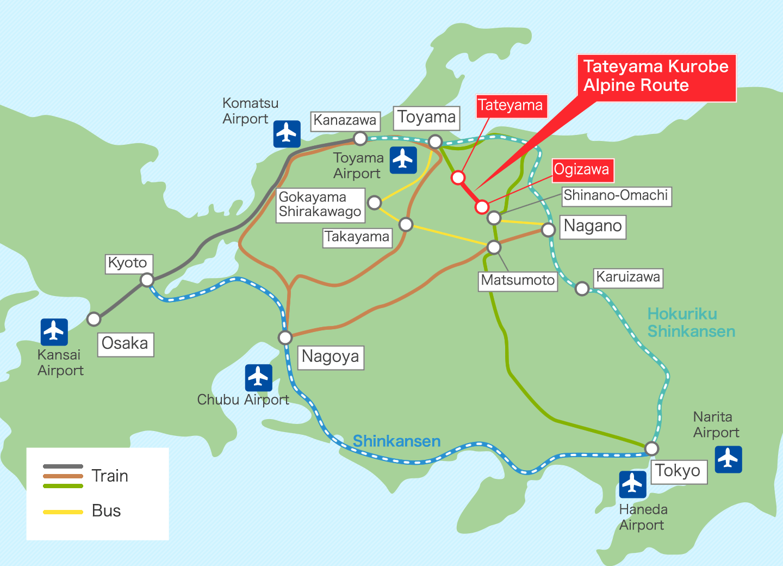 Peta Tateyama Kurobe Alpine Route (sumber alpen-route.com)
