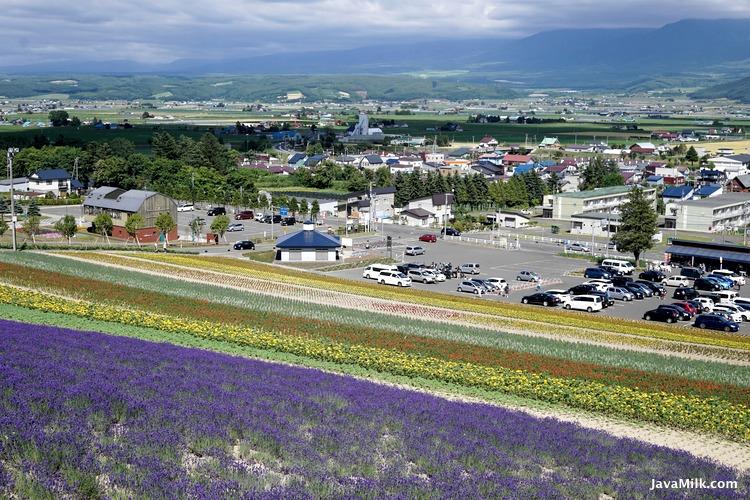 Foto diambil dari bukit Nakafurano Flower Park