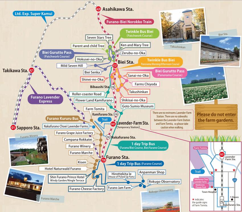 Peta Tempat Wisata Furano dan transport kereta