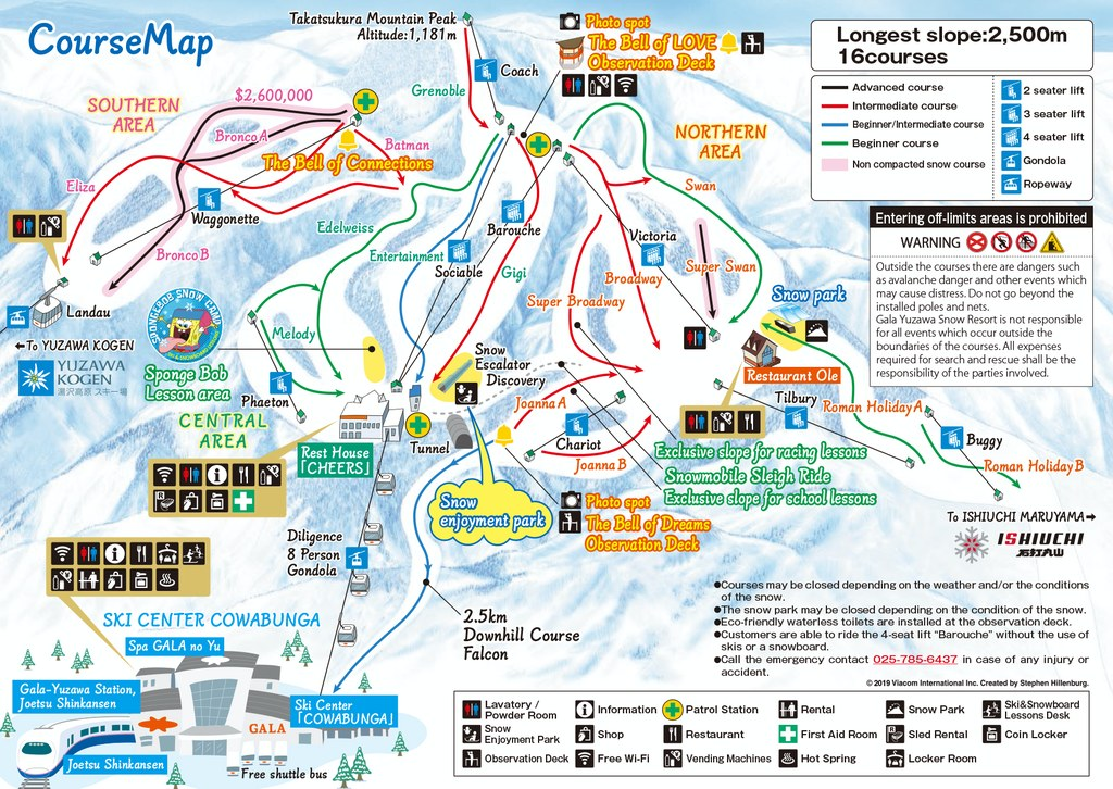Gala Yuzawa Mountain Trail Map