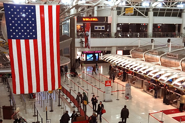 JFK Airport with USA Flag